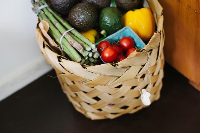 košík s nákupem zeleniny