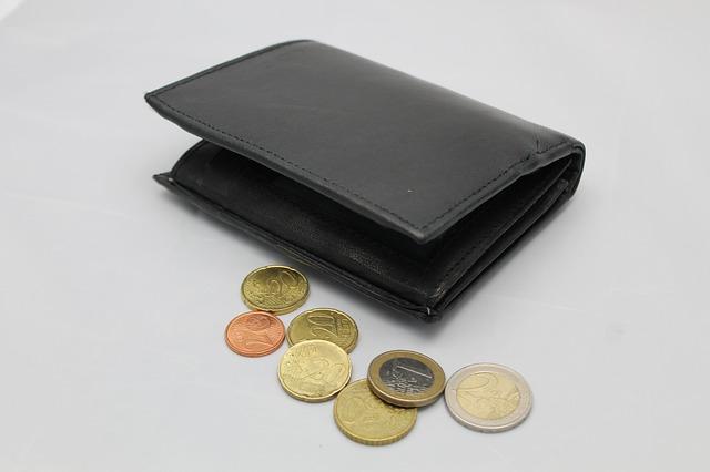 černá peněženka a mince